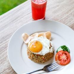Ubud homemade indonesian fried rice with watermelon juice