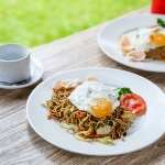 homemade indonesian fried noodle with indonesian fried rice